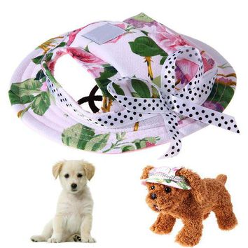LMF78W Pet Dog Sun Hat Summer Breathable Mesh Pet Dog Hat Lovely Princess Beach Cap With Ear Hole for Outdoor Travel