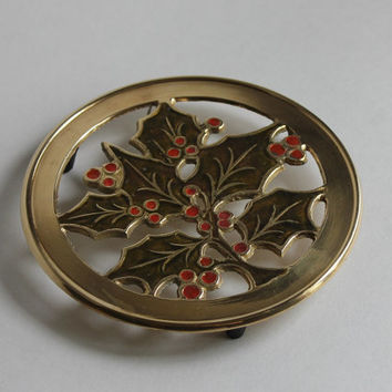 Brass Christmas Trivet, Vintage Wall Hanger, Hand Painted Red Holly with Green Leaves, Hampton Brass Made in India