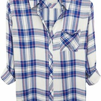 Rails Hunter Plaid Shirt in White/Blue/Raspberry