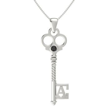 14K White Gold Pendant with Black Diamond