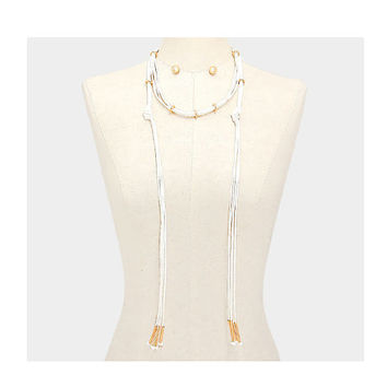 Long Ivory & Gold Multi Strand Leather Tassel Cord Choker Necklace