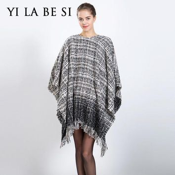 ESBU3C 2016 New Women Blanket Poncho Oversized Scarves Catwalk Plaid Capes and Ponchoes Shawl Women Lady Wraps NM300