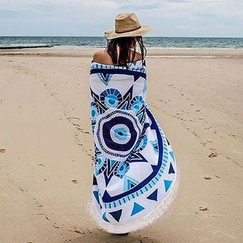 DCCKJG2 Round Indian Mandala Tapestry Wall Hanging Boho Beach Towel Scarf Shawl Yoga Mat Bedspread Tablecloth Home Decor Polyester 150cm