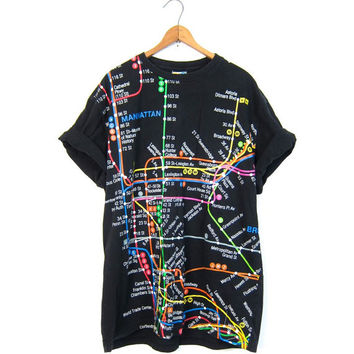 Vintage NYC SUBWAY Line MAP Tshirt Black Tshirt Novelty Tourist Shirt 90s Hipster New York City Tee Shirt Coed T Shirt Size Large