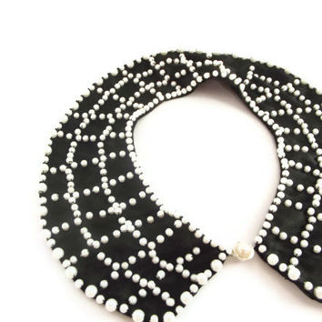 Black Collar Necklace with ivory Pearls, Peter Pan Collar Necklace, Handsewn, Satin Fabric
