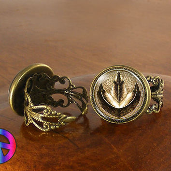 Power Rangers Gold Coin Womens Girls Adjustable Ring Rings Jewelry Art Gift