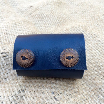 Upcycled Extra Wide Dark Blue Leather 2 Brown Flower Button Embellished Scarf Cuff