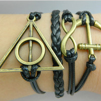 Bracelet - the imitation bronze unlimited bracelets, anchor bracelets, black leather braided bracelet