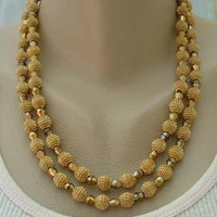 TRIFARI c1950 Double Strand Faceted Glass Crystal 'Mace' Necklace