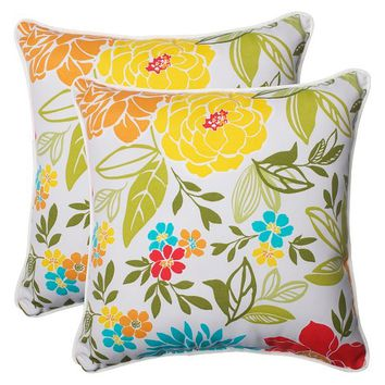 Pillow Perfect™ Spring Bling Outdoor 2-Piece Square Throw Pillow Set - Multicolored