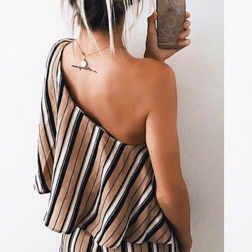 One Shoulder Striped Mini Romper - Final Sale