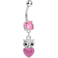 Pink Gem and Paved Heart For the Love of Owls Dangle Belly Ring | Body Candy Body Jewelry