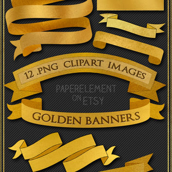 Gold Clipart: Gold Ribbon Banner Clipart 12 Gold Banners - Downloadable Gold Banner Clip Art Design - Instant Download Digital Banner Images
