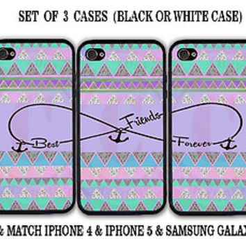 Purple Mint Aztec BFF Best Friends Case- 3 Cases for iPhone 4 iPhone 5 5S S3 S4