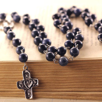 dark blue rosary gift long necklace handmade girls rosary gemstone necklace religious necklace Catholic cross blue casual rosaries jewelry
