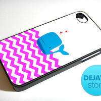 Pink Chevron Whale iPhone 4 / 4S Case