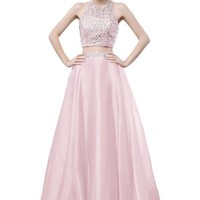 Prom Style Stunning Chiffon Rhinestones Prom Party Gown Pageant Dress Two Pieces