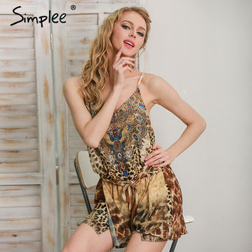 Simplee Leopard print brown jumpsuits romper women Summer beach sexy sleeveless overalls Backless strap chiffon playsuit
