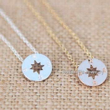 Compass Necklace - Gold, Rose Gold and Silver - Direction of life