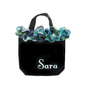 Personalized Aqua and Black Girl's Tote Bag