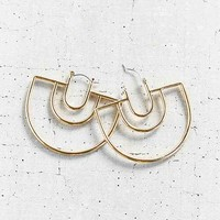 18k Gold Plated Geo Hoop Earring- Gold One