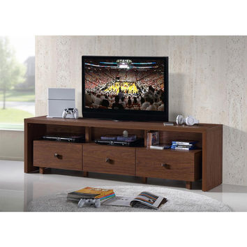 Techni Mobili 70-Inch TV Stand with 3 Drawer Hickory,RTA-8895-HRY New