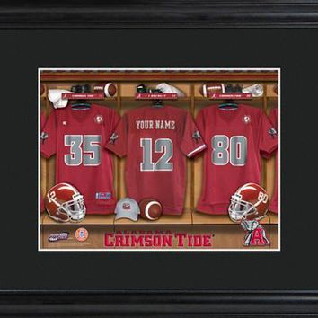 College Locker Room Print in Wood with Matted Frame Free Personalization