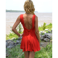 Watch My Back Red Chiffon Open Back Dress