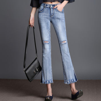 Womens Bell Bottom Pants New Arrival Light Blue Hole Jeans Spring Large Size Slim Flare Jeans Woman Fashion Casual Trousers 8XL