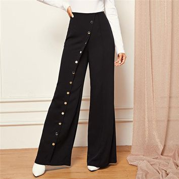 Black Office Lady Snap Button Front Wide Leg Pants Full Length Solid Pants Women Casual Workwear Trousers