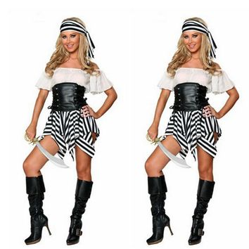 Caribbean Pirate Warrior Costume Women Halloween Pirate Costume Dress Female Fantasias Stage Wear Fantasy Party Cosplay Z10