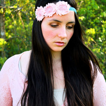 Gatsby Pale Pink and Blue Shabby Chic Vintage Inspired Headband, 1920s, Hipster, Bohemian