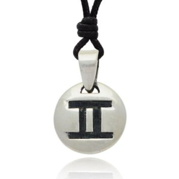 Stylish Pisces Sign Zodiac Symbol Sterling Sliver Pendant Necklace Jewelry With Cotton Cord