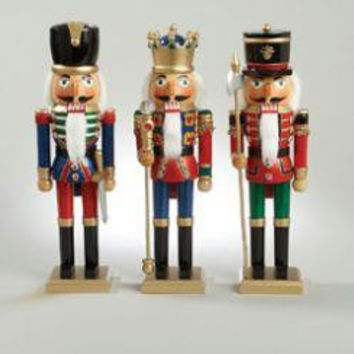 3 Christmas Nutcrackers - Embellished With Gemstones And Glitter