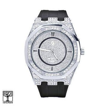 Jewelry Kay style Men's Hip Hop Silicone Black Band Techno Pave Iced Out Stoned Watches 8154 SBK