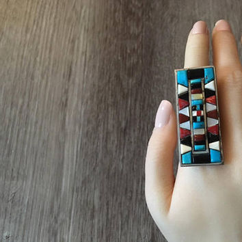 Vintage Native American Handmade Multi Gemstone Statement Ring in 925 Sterling silver, US Size 6 (ring sizing available)