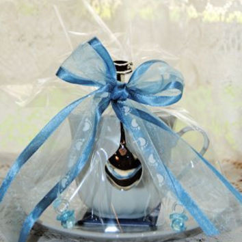 4 Blue Baby Boy Tea Cup (Teacup) Shower Favors