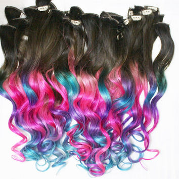 Full Set Ombre Dip Dyed Hair, Clip In Hair Extensions, Tie Dye Tips, Bundle Hair, Hair Wefts, Human Hair Extensions, Hippie hair