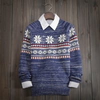 Men's Snowflake Geometric Knitted Sweater