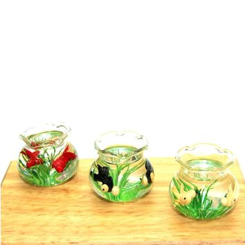 Miniatures 1:12 Dollhouse Miniature Glass Fish Tank Transparent Aquarium Dollhouse Home Ornaments Kids Toys