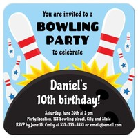 Birthday party invite for children, bowling ball striking pins, blue
