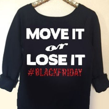 Move it or Lose it Sweatshirt - Black Friday - Ruffles with Love - Holiday Sweatshirt - Off the Shoulder Sweatshirt - Womens Clothing - RWL