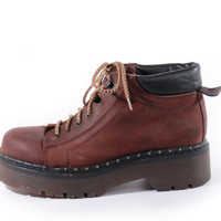 90s Vintage Brown Leather Platform Boots Chunky Hiking Combat Lace Up Ankle Hipster Shoes Made in Spain Womens Size US 8.5 UK 6.5 EUR 39