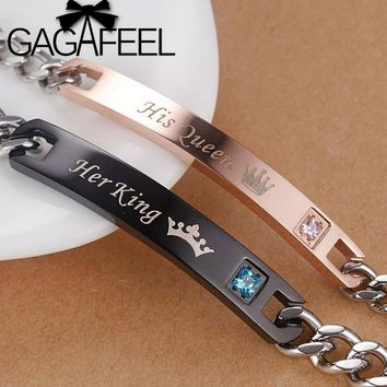 GAGAFEEL Romantic Lover Couple Bracelets Stainless Steel Bangle Her King His Queen DIY Customized Engrave Bracelet Women Men