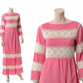 Vintage 70s Pink Pintuck Crochet Maxi Dress 1970s Mystical Fashions Cotton Blend Crochet Cut Out Hippie Wedding Boho Festival Dress / S
