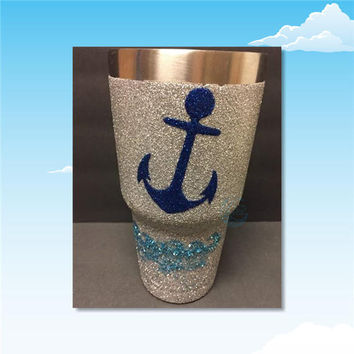 ANCHOR and WAVES glitter dipped stainless steel tumbler / painted tumbler / custom designed cups / glitter cups / nautical tumbler