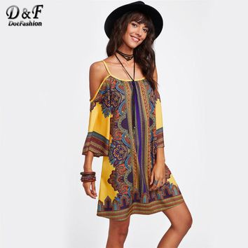 Tribal Print Kimono Sleeve Dress Summer Multi Color Short Dress Woman 3-4 Sleeve Cold Shoulder Tunic Shift Dress