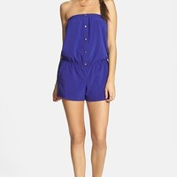 Socialite Front Button Strapless Romper (Juniors)