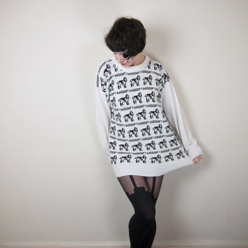 "DOG jumper ""woof"" pattern 80s NOVELTY knit sweater twee kawaii cute animal design OVERSIZED fit L"