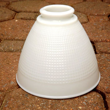 Milk Glass Pendant Light Globe Shade, Corning Industrial Fluted Waffle Pattern White Glass Light Globe
